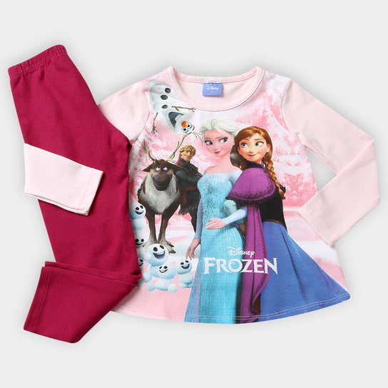 0998f4581cf222 Conjunto Brandili Frozen Disney Infantil - Rosa