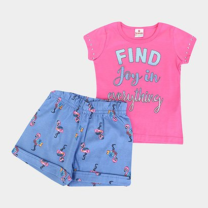 Conjunto Infantil Brandili Flamingo Feminino