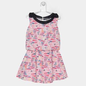 f2a6bd7bdf488 Vestido Fakini Estampado Tricoline Infantil