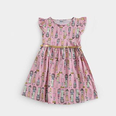 Vestido Infantil Fakini Curto Evasê Estampa Boneca Babado