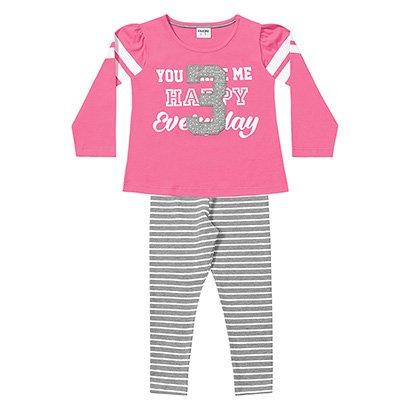 Conjunto Infantil Malha e Legging Cotton Fakini Happy
