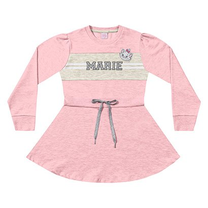 Vestido Infantil Fakini Moletinho Manga Longa Disney Marie
