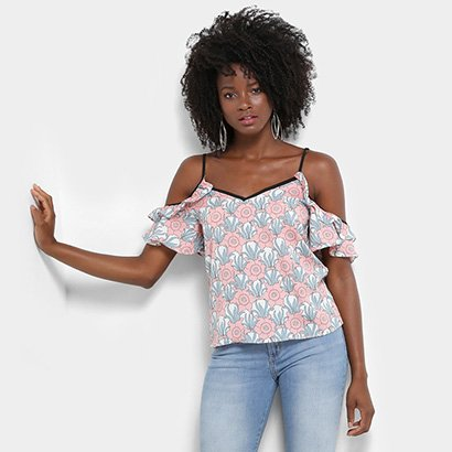Blusa Lily Fashion Open Should Floral Feminina