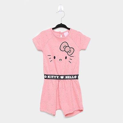 Macacão Infantil Hello Kitty Manga Curta Moletom Botone
