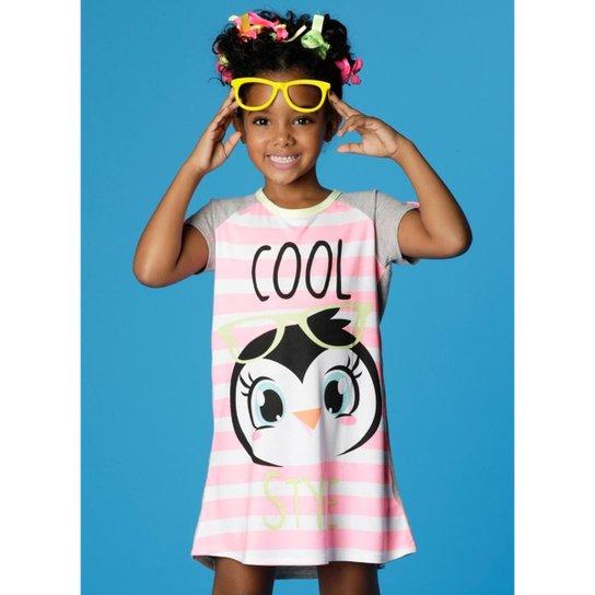b592f476889a44 Camisola Infantil Puket Manga Curta Visco Pinguim Estrela Feminina - Rosa