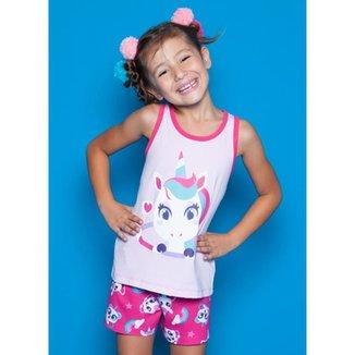 Pijama Infantil Puket Curto Regata Unicórnio Feminina 4779bf1d8af