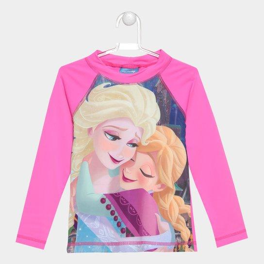 c07639a40c Camiseta Infantil Tip Top Frozen UV Manga Longa - Rosa