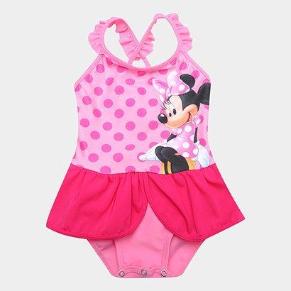 Maiô Infantil Disney Tip Top Minnie Poá  Babado