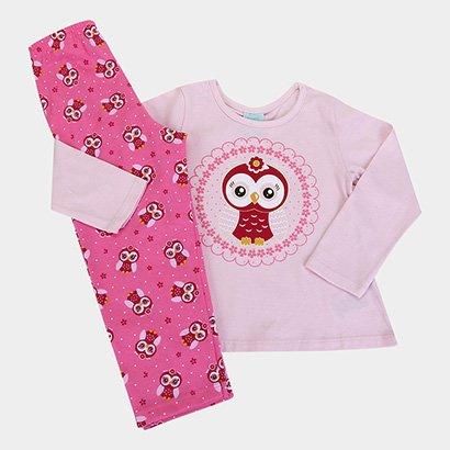 Conjunto de Pijama Infantil Kyly Coruja Brilha no Escuro Feminina