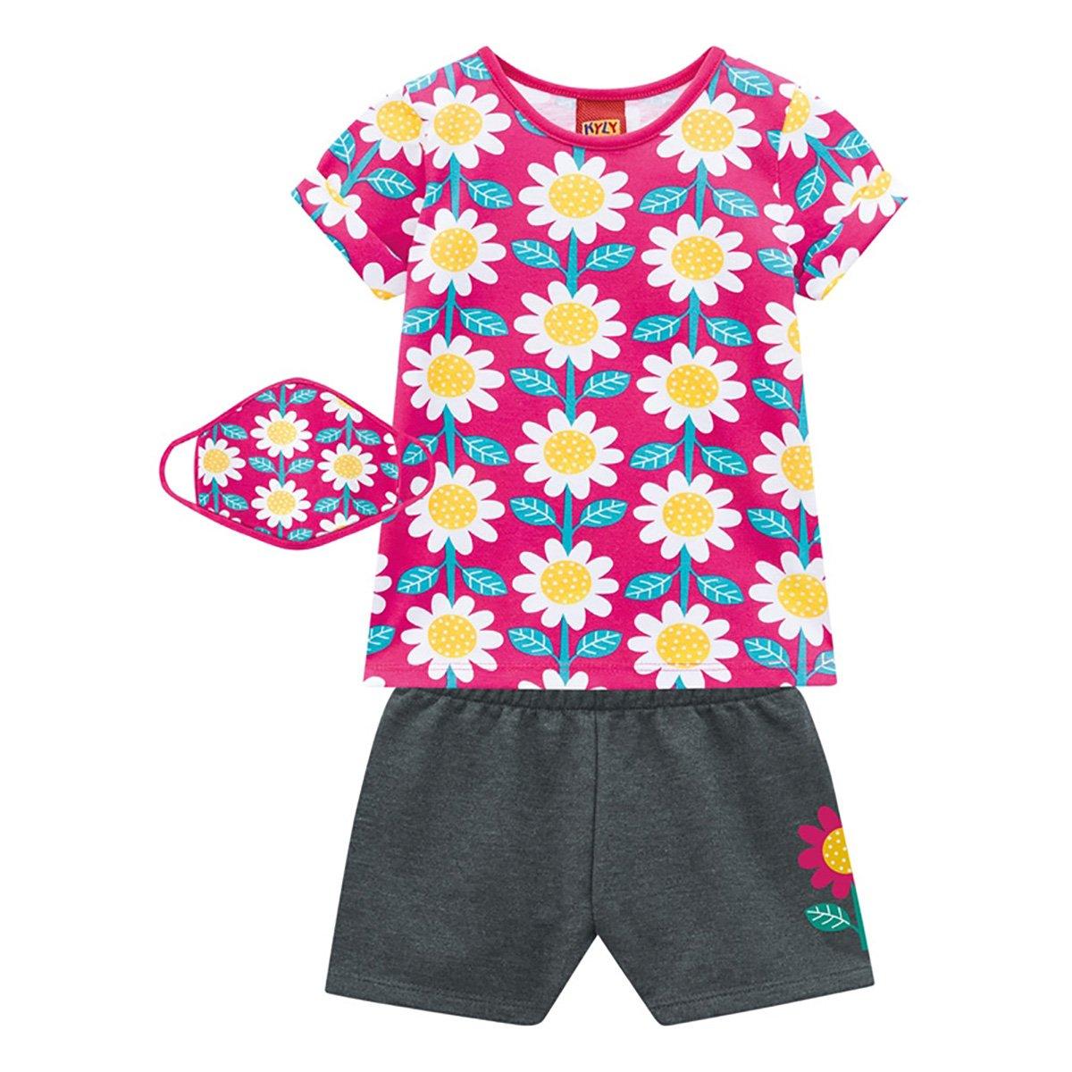 Conjunto Bebê Kyly Camiseta Flores + Shorts c/ Máscara Feminino