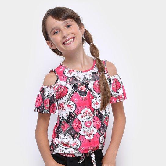 b3ab255556 Blusa Infantil Lilica Ripilica Amarração Feminina - Rosa