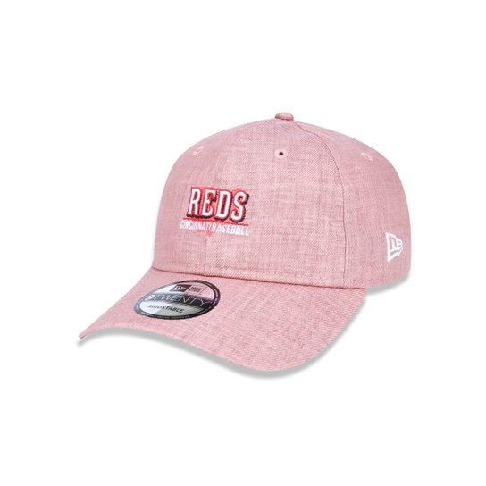 Boné 920 Cincinnati Reds MLB Aba Curva Strapback New Era - Rosa ... 3760723bbaf6c