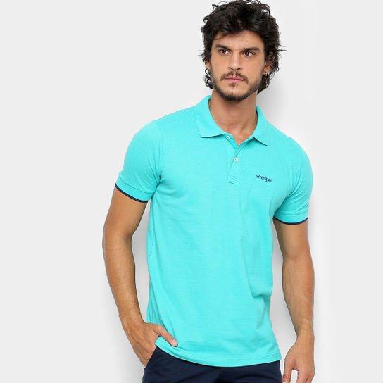 Camisa Polo Wrangler Básica Piquet Logo Bordado Masculina - Verde água 42381afc5ff07