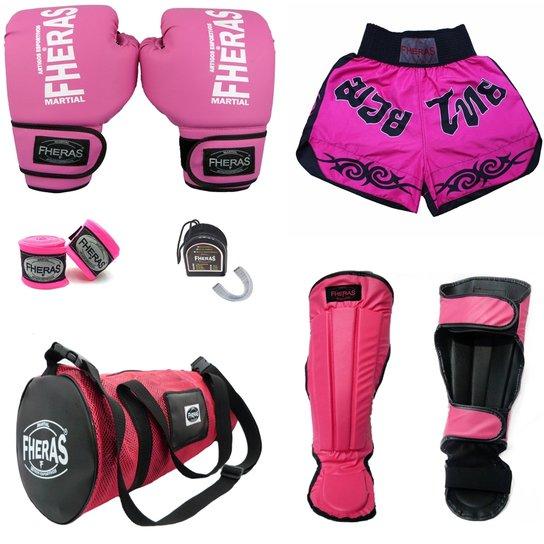 92c3eb8d4 Kit Muay Thai Trad - Luva Bandagem Bucal Caneleira Bolsa Shorts - 08 OZ -  Rosa