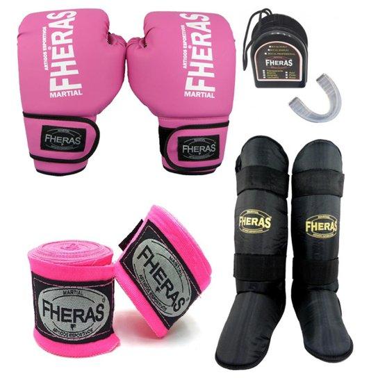 a3a66ddde Kit boxe Muay Thai Tradicional - Luva Bucal Bandagem Caneleira 08 OZ - Rosa