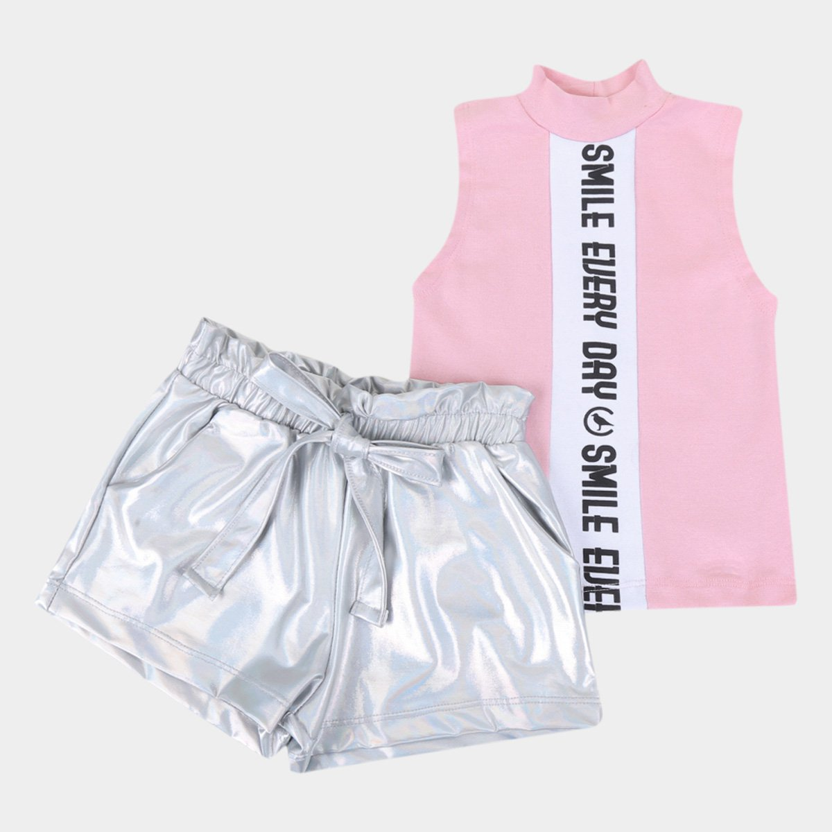 Conjunto Infantil Costão Cropped E Shorts Clochard Feminino