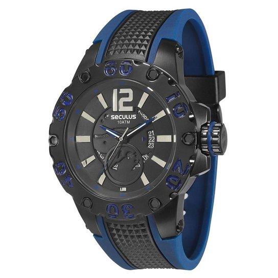 19349f6041b Relógio Seculus Masculino - 20105GPSSPU4 - Preto e Azul - Compre ...