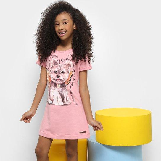 Vestido Infantil Colcci Curto Moletom Estampado - Rosa - Compre ... 7dca0097cb9