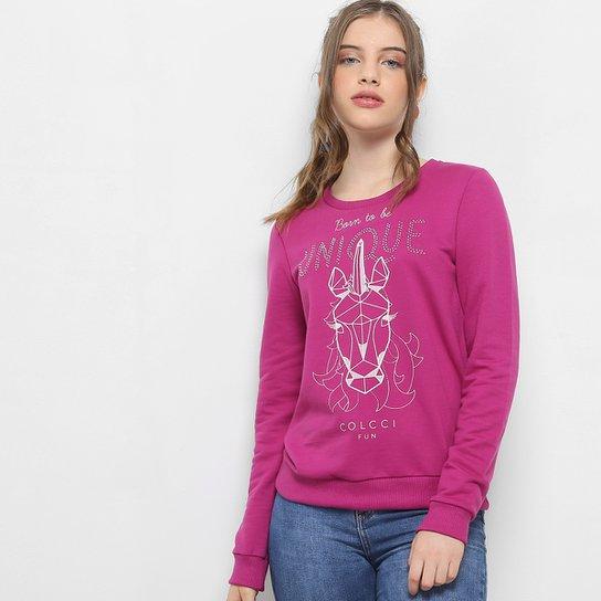 Blusa De Moletom Infantil Colcci Estampada Feminina - Rosa - Compre ... a1508c2151576