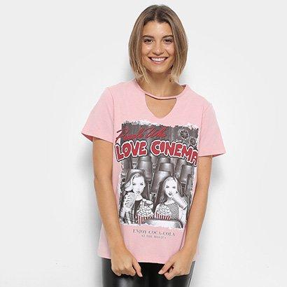 Camisetas Coca-Cola Choker Love Cinema Feminina