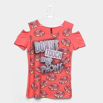 Blusa Open Shoulder Infantil Cativa Donuts Feminina