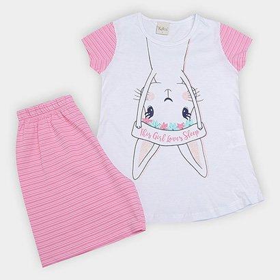 Pijama Infantil Kiko & Kika Coelho Listrado Feminino