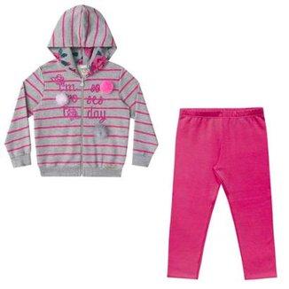8279e0a61 Conjunto Infantil Jaqueta e Legging Moletom Boca Grande Feminino