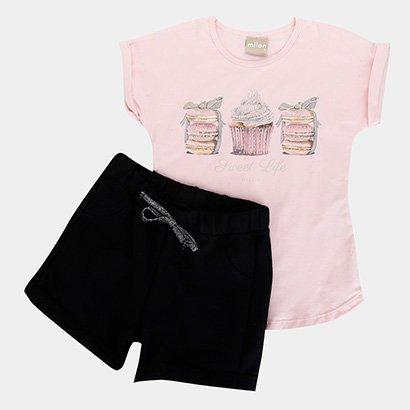 Conjunto Infantil Milon Blusa Cotton/Short Moletom Feminino