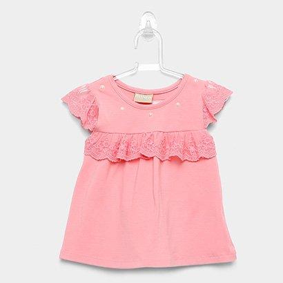 Blusa Infantil Milon Cotton Pérolas Renda Feminina