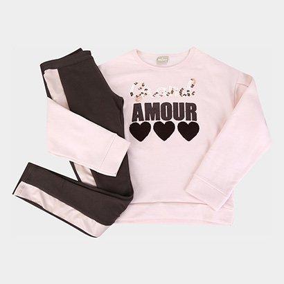 Conjunto Infantil Milon Amour Moletom e Calça Feminino