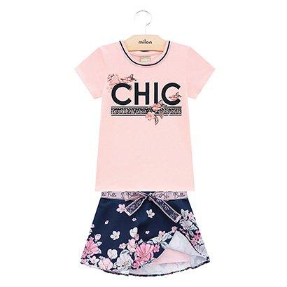 Conjunto Infantil Milon Chic C/ Short Interno Feminino
