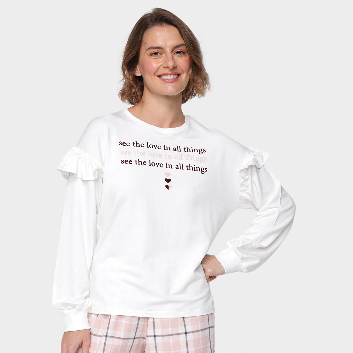 Pijama Longo Cor com Amor Babado Feminino