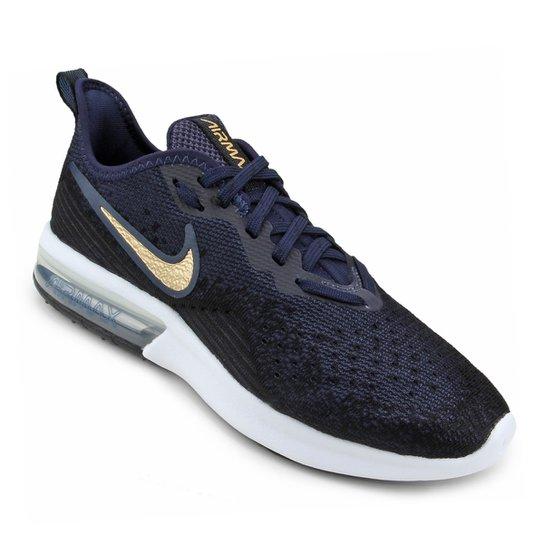 4536c1130b13c Tênis Nike Air Max Sequent 4 Feminino - Preto e Azul - Compre Agora ...