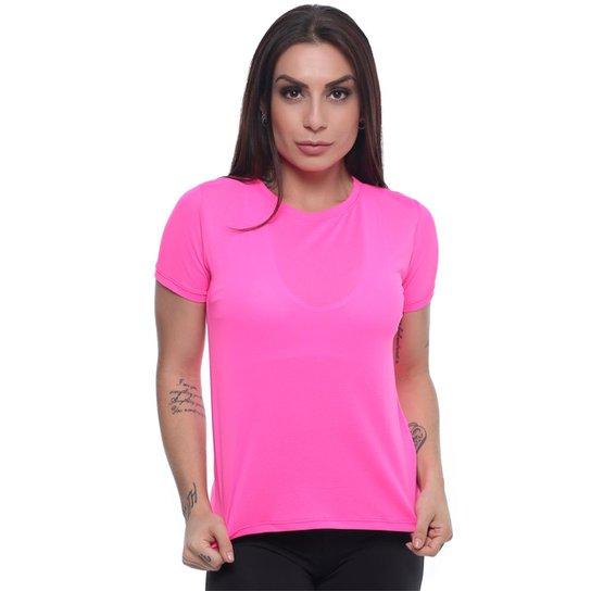 Blusa Dry Fit em Poliamida Hard Clothing Fit Feminina - Rosa ... ac15912fc7b