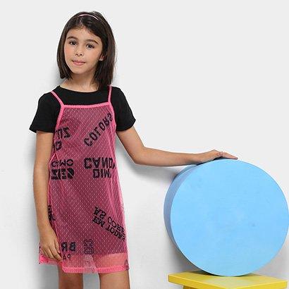 Vestido em Tule com Forro Infantil Dimy Candy Feminino