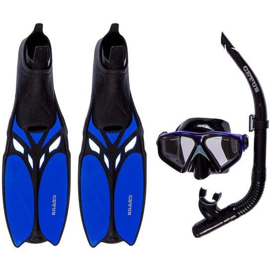 d0e7d4895 Kit Mergulho Máscara+nadadeira+snorkel Cetus Shark - Preto e Azul ...