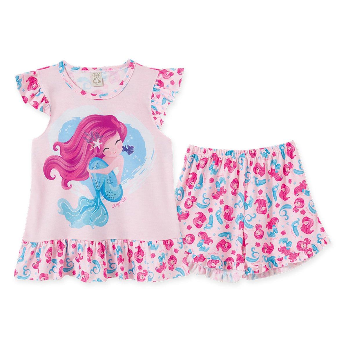 Pijama Juvenil Pingo Lelê Regata Sereia + Short Doll Babados Feminino
