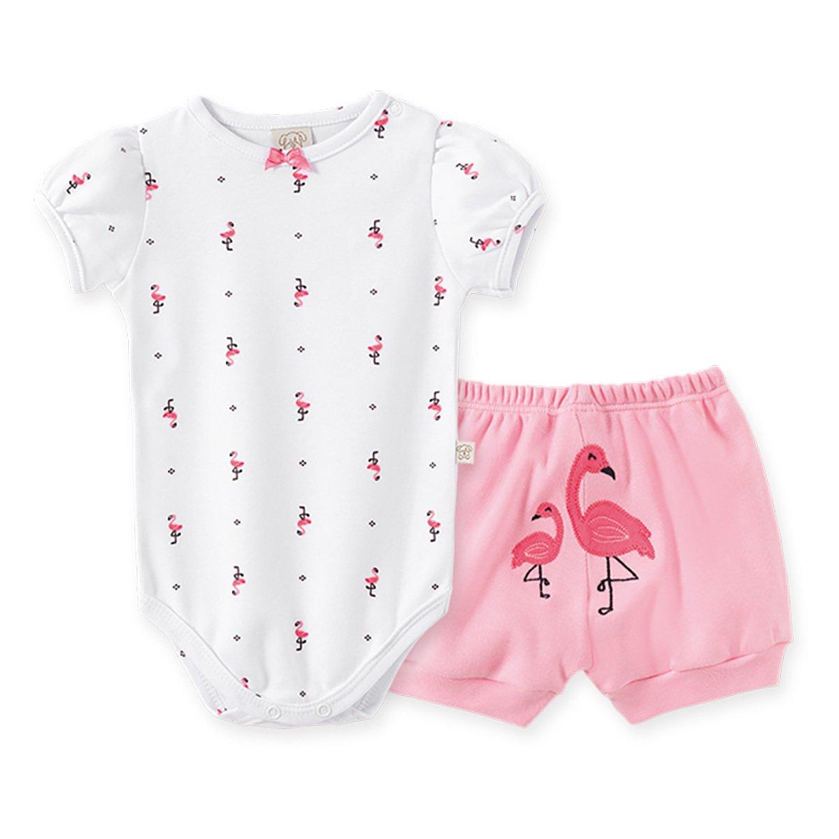 Conjunto Infantil Pingo Lelê Flamingo Estampado Feminino
