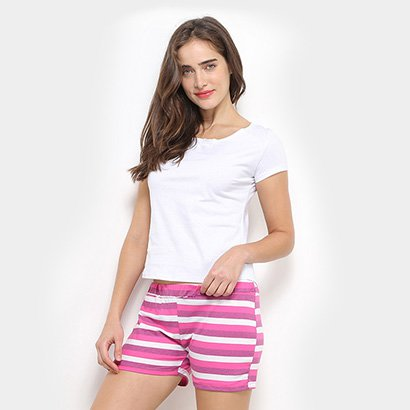 Conjunto Pijama Flora Zuu Curto Listrado Feminino