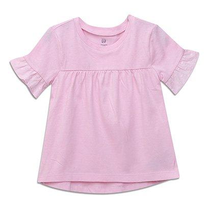 Camiseta Infantil GAP Malha Manga Babados Baby