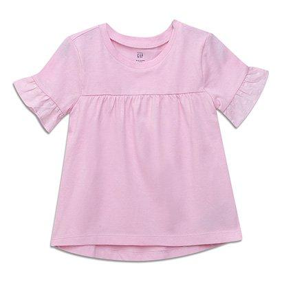 Camiseta Infantil GAP Lisa Manga Babado Feminina
