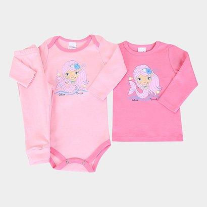Conjunto Bebê Candy Kids Animals Body +  Blusa