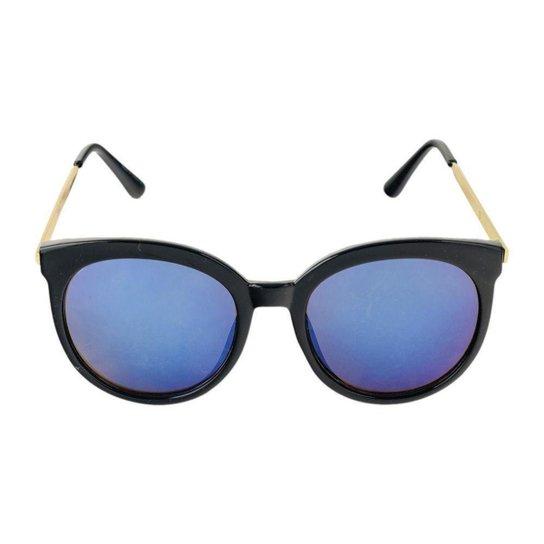 Óculos de Sol Khatto Elegancy Feminino - Preto e Azul - Compre Agora ... 94fe697343