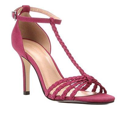 Sandália Couro Shoestock Tiras Trançadas Salto Alto Feminina