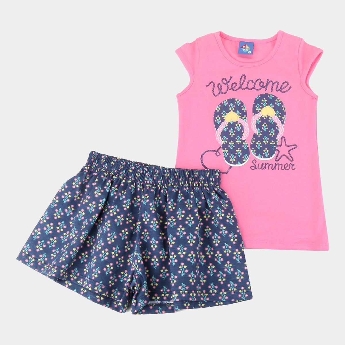 Conjunto infantil Pipa Regata E Shorts Welcome Summer Feminino