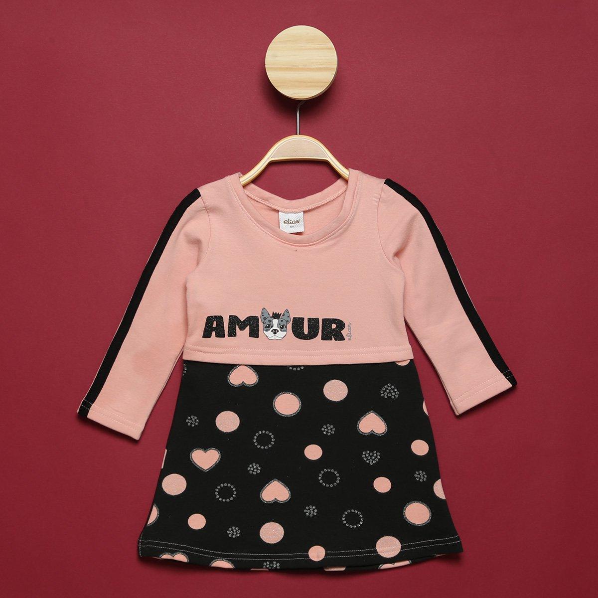 Vestido Bebê Elian Molecotton Amour Manga Longa