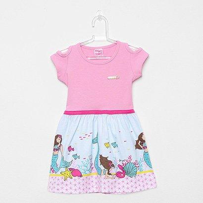 Vestido Infantil For Girl Curto Evasê Estampa Sereia