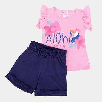 Conjunto Infantil For Girl Blusa Aloha E Short Moletinho For Girl Feminino