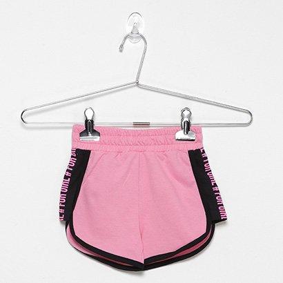 Shorts Infantil For Girl Moletinho C/ Silk Lateral-3391
