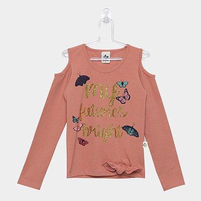 Blusa Infantil Andritex Ombro a Ombro Borboletas Feminina